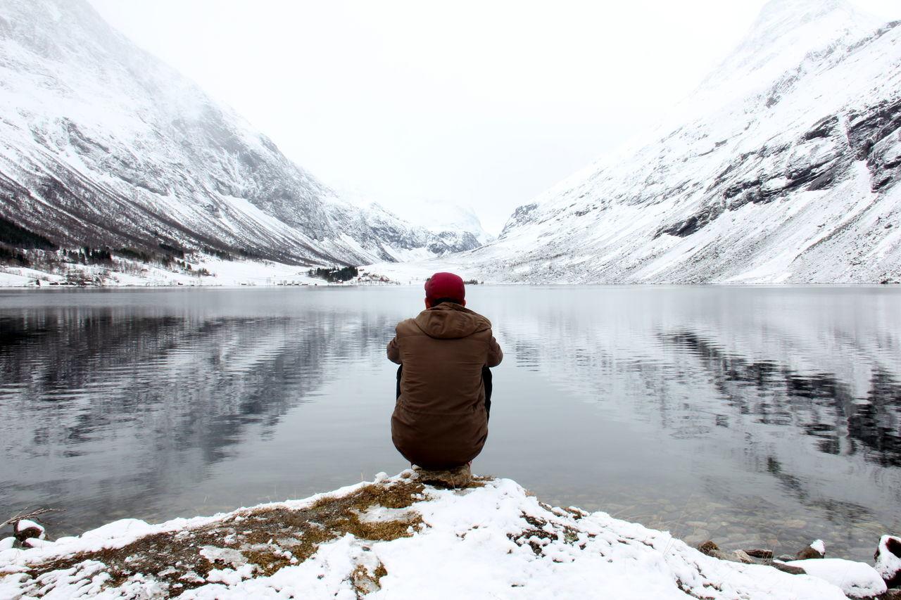 Dos  Fjord Neige Norge Norvège  Printemps Reflection Reflet Snow