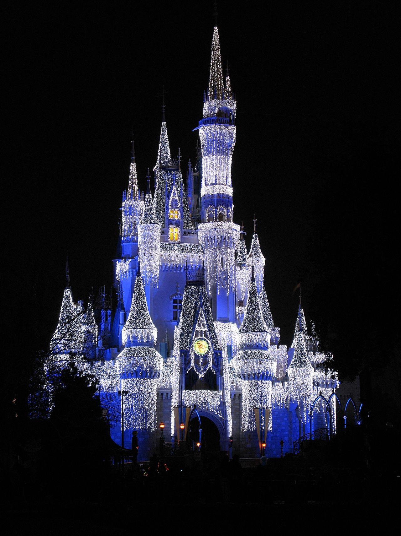 Walt Disney World The Magic Kingdom Orlando Orlando Florida Florida Cinderella Castle Christmas Time Christmas Christmas Lights Castle