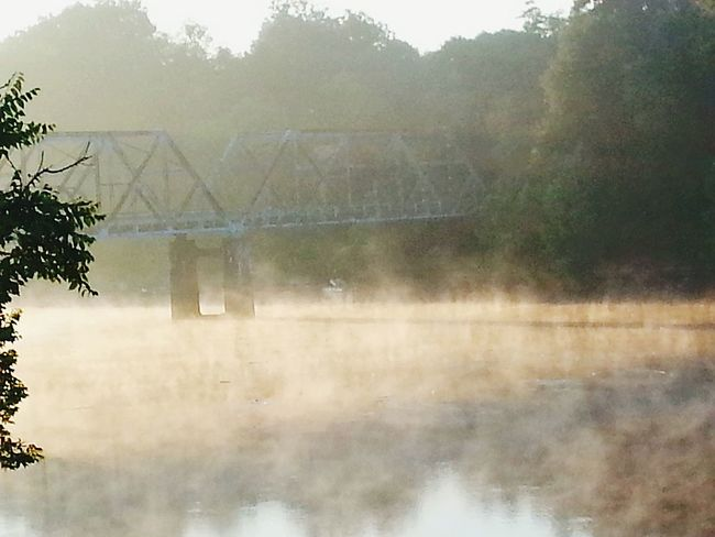 Morning fog Morning Mist Morning Fog Lake Life Foggy Morning My Backyard Oasis Landscape_photography Bridge Over Water Waterscape My Backyard View Passion Photographer