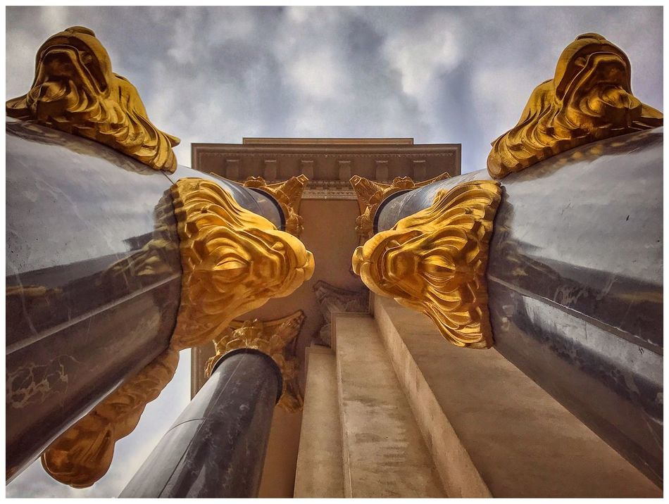 Caesar's Palace Resort and Casino. Las Vegas, NV. Low Angle View Statue Gold Colored Sculpture No People Bas Relief Outdoors Architecture Day Gold Sky Lions Lionshead Lookingup Looking Up Caesarspalace Pictureoftheday IPhoneography This Week On Eyeem Eyeemphoto Malephotographerofthemonth Picturing Las Vegas Las Vegas Cloud - Sky Picoftheday