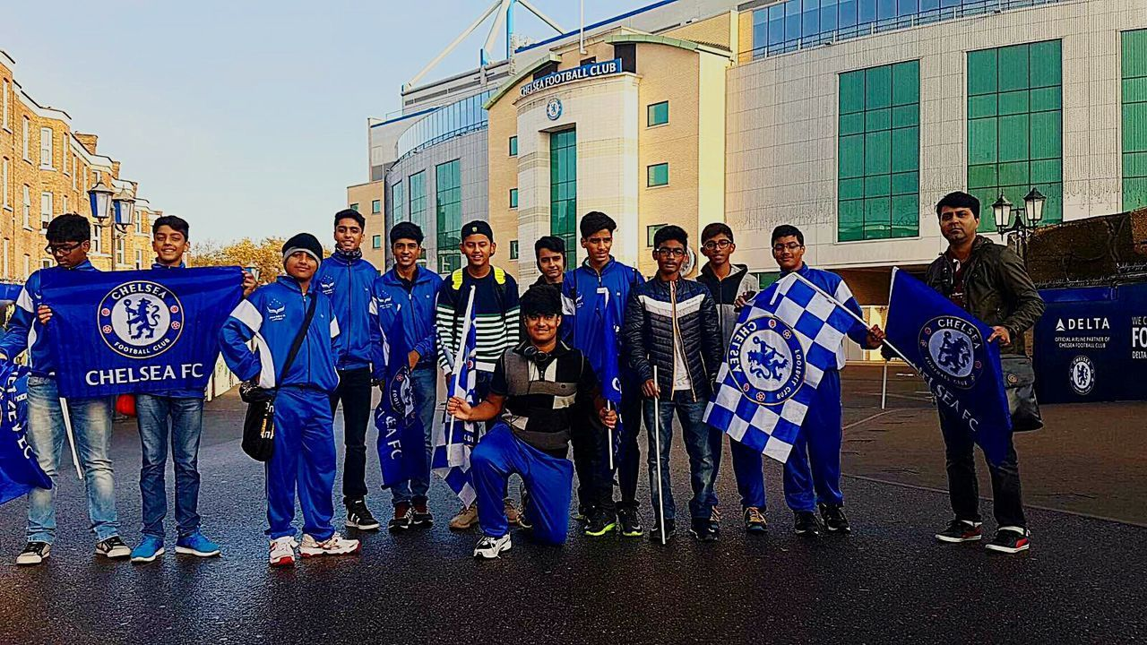 Indian Cricket Stadium Tour in London the United Kingdom waving the Blue Chelsea Fc flag Children Of The World Children Photography