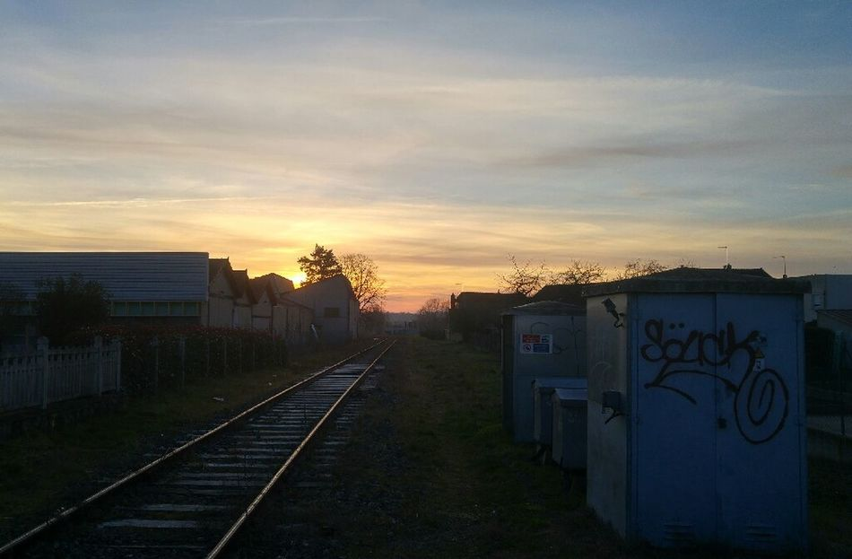 Rail Transportation Sunset Railroad Track Outdoors No People Sky Moulins - France Building Exterior Tag No Filter