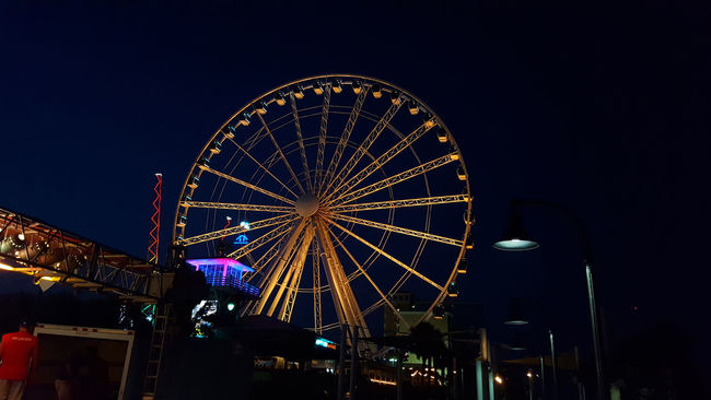 Amusement Park Amusement Park Ride Architecture Arts Culture And Entertainment Built Structure City Engineering Eye4photography  Ferris Wheel Illuminated Low Angle View Night Nightphotography No People Outdoors Sky Tourism Travel Destinations