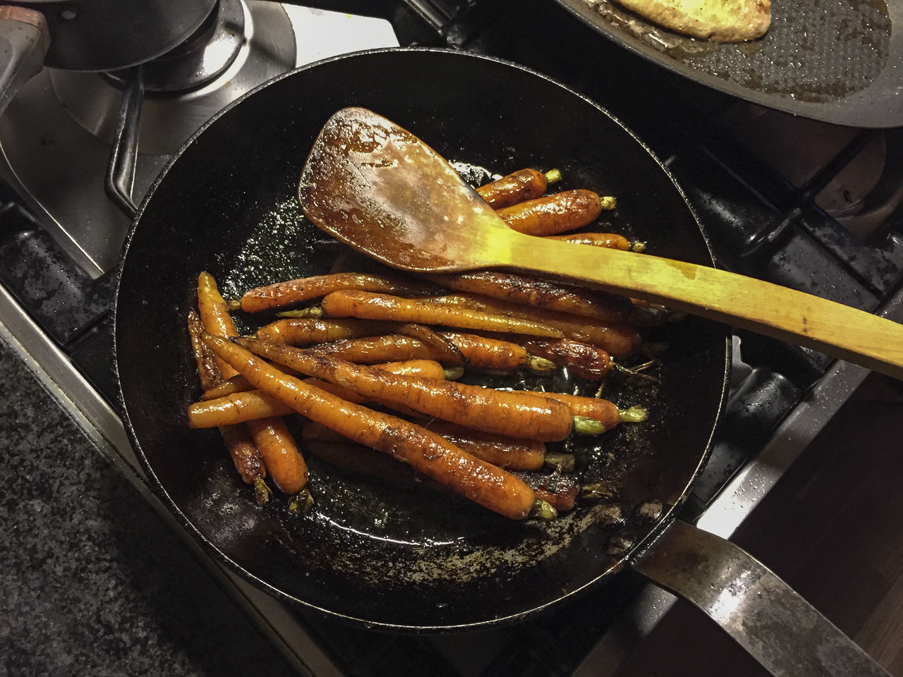 Caramelized carrots in pan Caramalized, Carrots Cooking Food, Healthy Julia's Kitchen, Pacific Grove, Bread, Appetizer Kitchen Ladle Pan, Skillet, Stove Vegetables