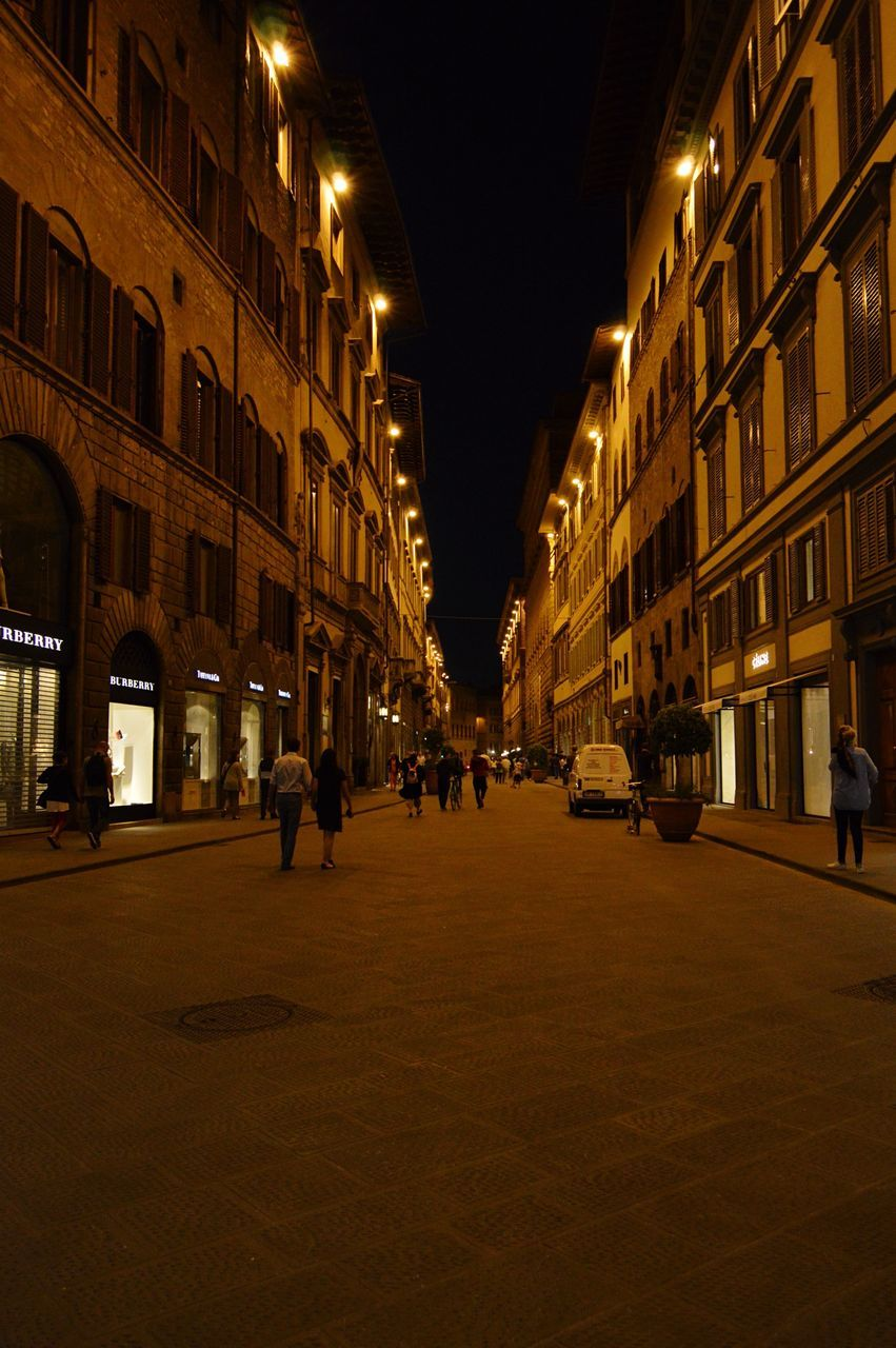 night, architecture, building exterior, built structure, street, illuminated, city, walking, outdoors, people, sky