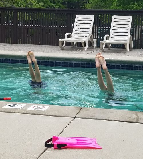 Water Outdoors Swimming Pool Live For The Story Kids Being Kids Sibling Rivalry Handstands Summer