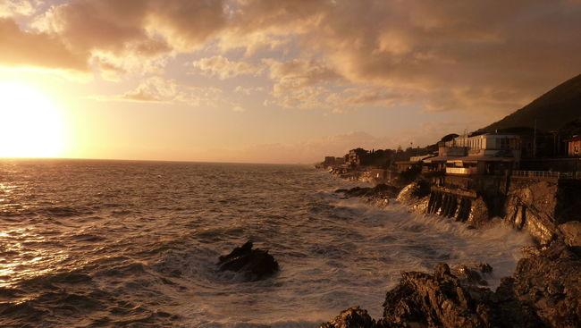 Sea Storm on Nervi Promenade Eye4photography  EyeEm Best Shots EyeEm Best Shots - Nature EyeEm Gallery EyeEm Nature Lover EyeEmBestPics Genova Nervi  Promenade Sea Sea And Sky Sunset Sunset_collection