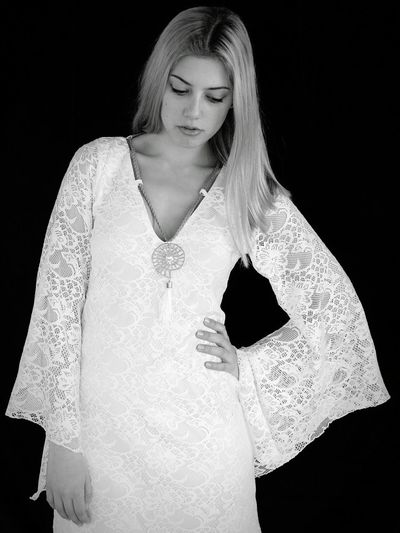 Black And White Photography Fashion Photography Thoughtful Modelgirl Model Pose White Lace Dress