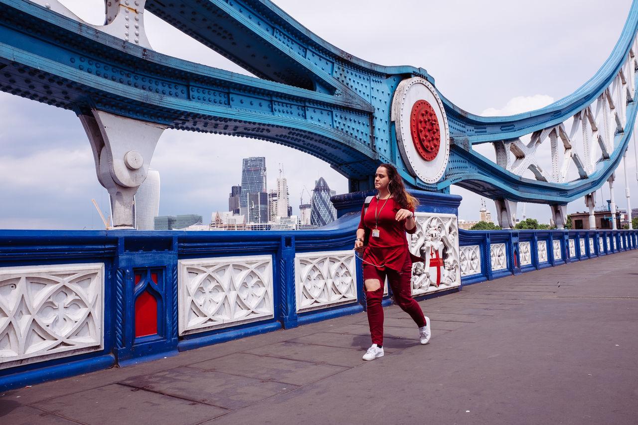 Tower Bridge  Blue Bridge Bridge - Man Made Structure City Cityscape Colour Colourful London One Person Real People Red Skyline Southwark  Summer Urban The Street Photographer - 2017 EyeEm Awards