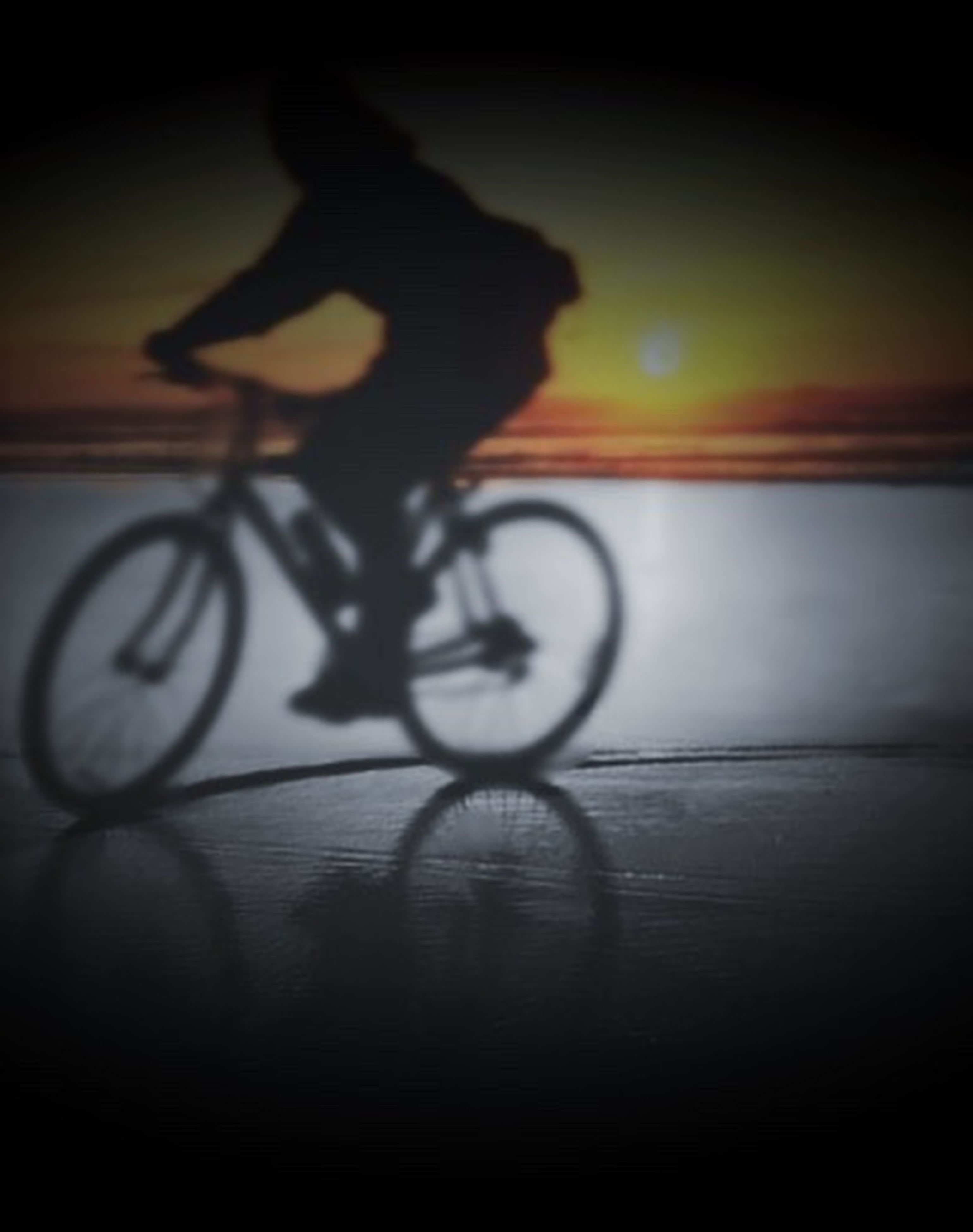 silhouette, bicycle, sunset, lifestyles, leisure activity, transportation, men, riding, full length, land vehicle, mode of transport, side view, cycling, unrecognizable person, on the move, sky, sport, street
