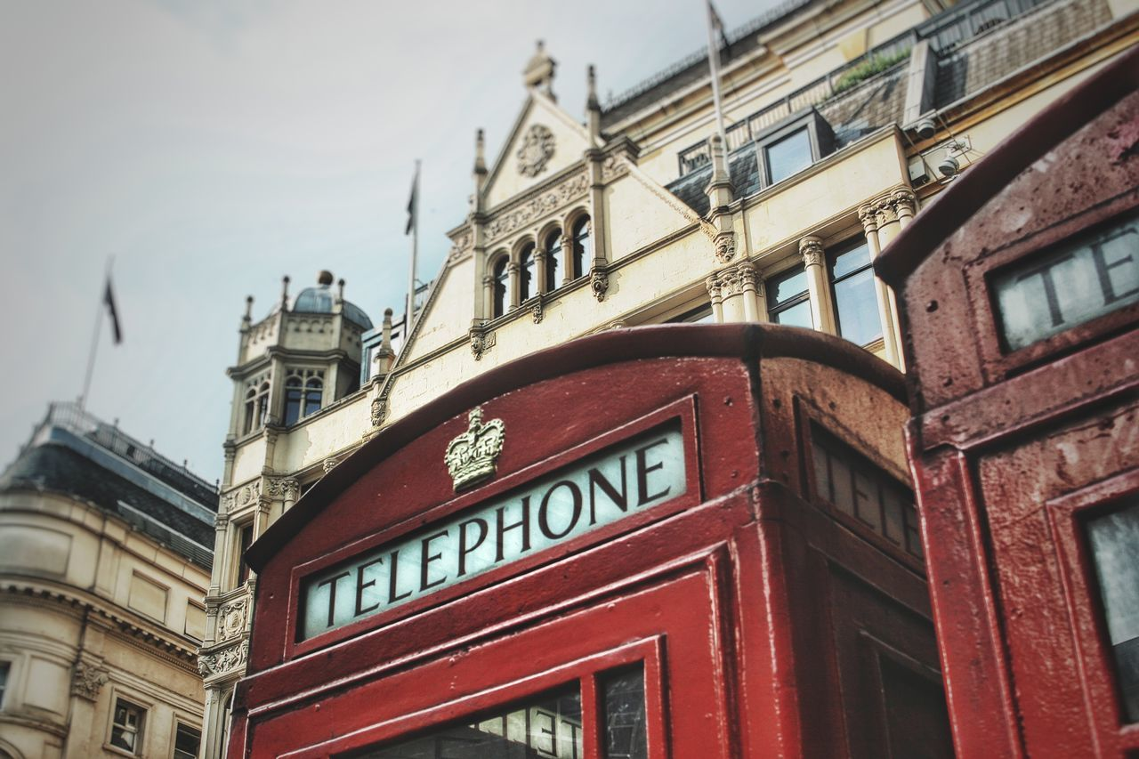 Architecture Building Exterior Built Structure City Clock Tower Cultures Day London Low Angle View No People Outdoors Phone Booth Phone Box Red Red Phone Boxes Telephone Booth Telephone Box Travel Destinations