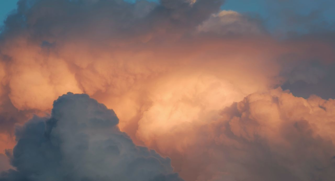 Cumulus clouds at sunset. Atmosphere Beauty In Nature Cloud - Sky Clouds Clouds And Sky Cumulus Cloud Day Glowing Golden Golden Hour Nature No People Nostalgia Outdoors Pastel Romantic Romantic Sky Scenics Sky Sky Only Sunset Weather