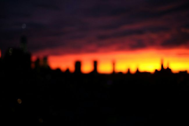 Sunset Silhouettes Blurred Skyline Fire Sky