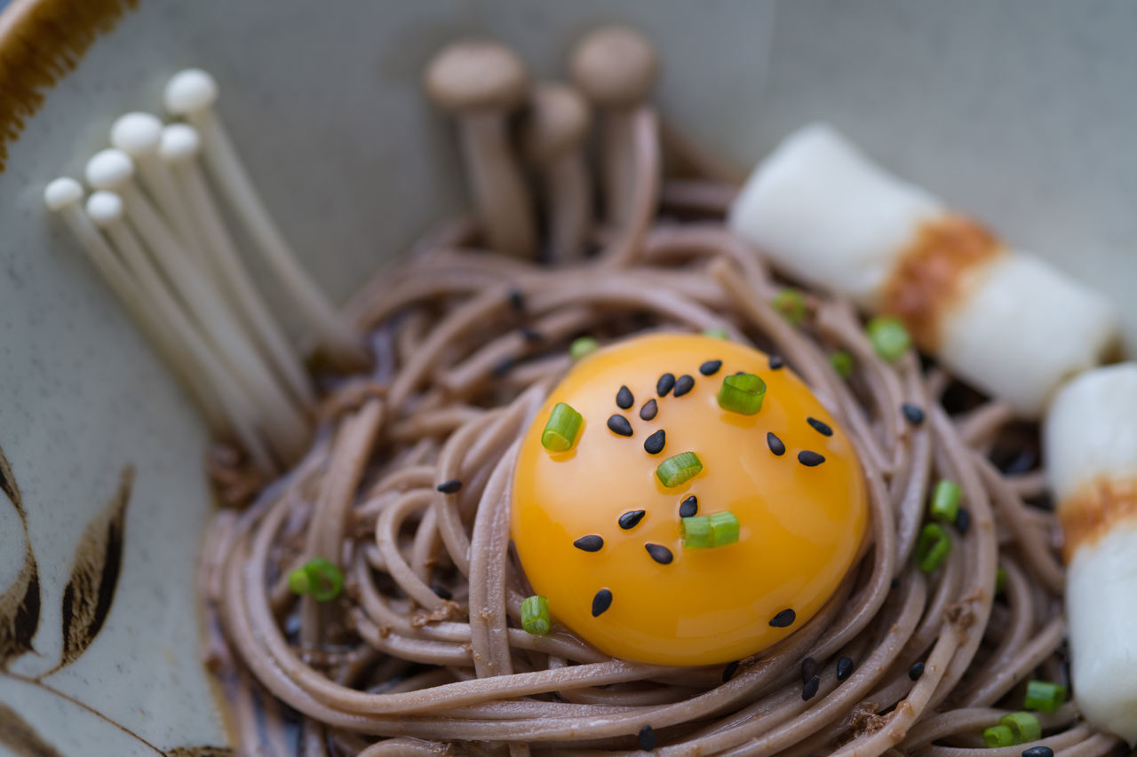 Home Cooking Japanese Food Soba Noodles Buckwheat Noodles Chikuwa Close-up Egg Enokitake Food Freshness Healthy Eating High Angle View Indoors  Mushroom No People Noodle Ready-to-eat Sesame Seed Yolk