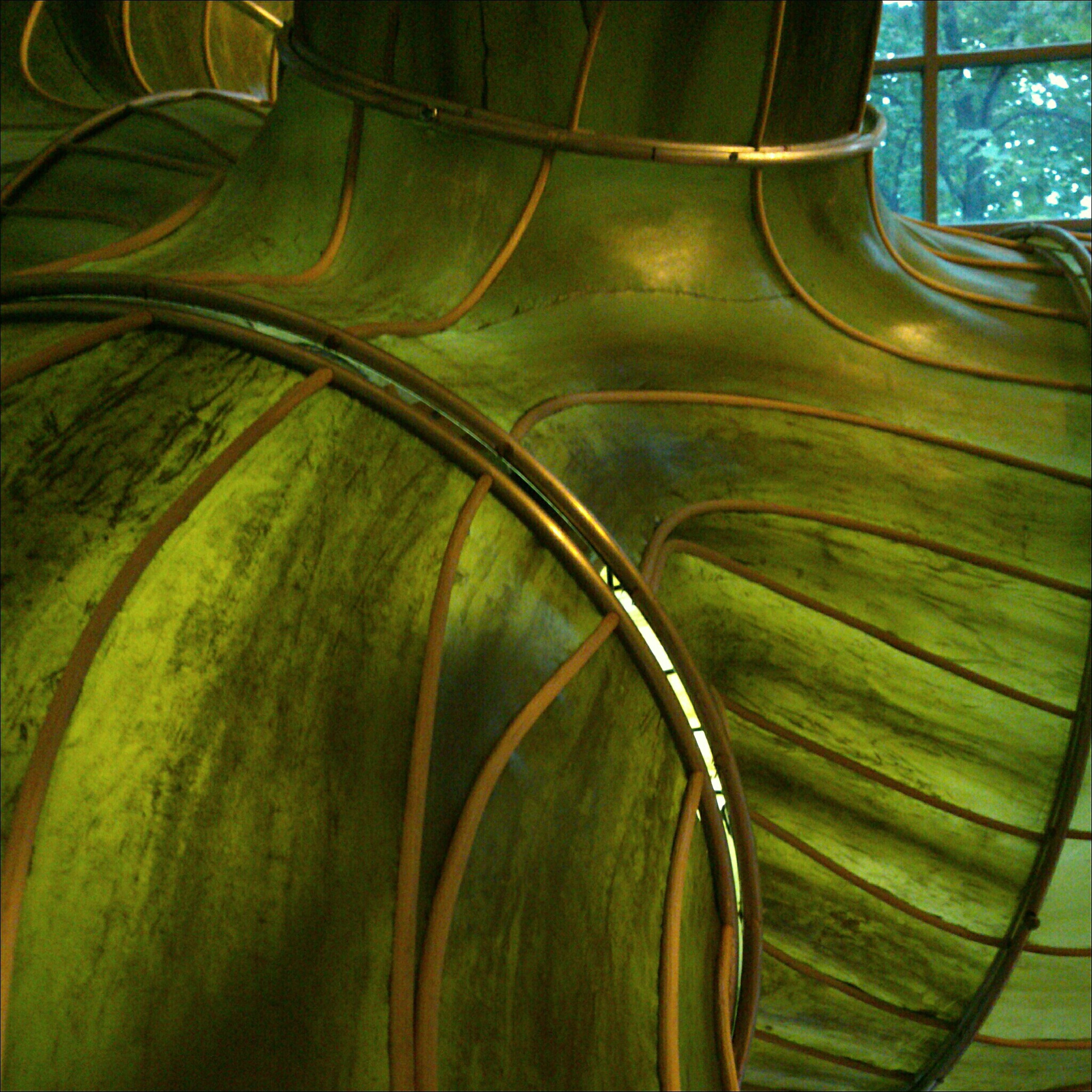metal, close-up, metallic, pattern, full frame, no people, backgrounds, green color, part of, day, indoors, detail, spiral, sunlight, curve, design, rusty, nature, growth