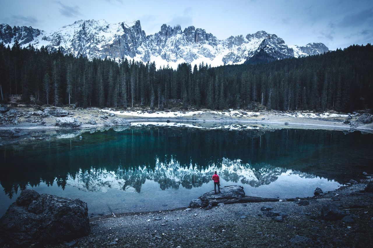Blue Carezza Italy Nature Beauty In Nature Snow Mountain Non-urban Scene One Person Scenics Water Tranquility Lake Landscape Outdoors Day Winter Men People
