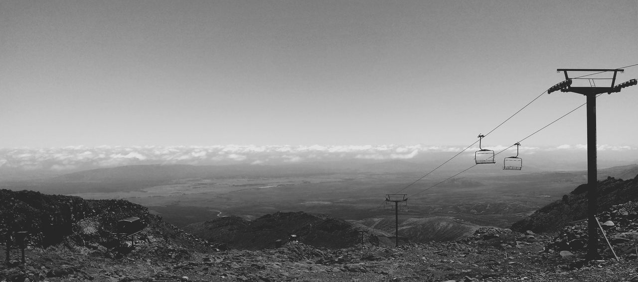 Beauty In Nature Black And White Cable Calm Day Landscape Mountain Mountain Range Nature New Zealand No People Outdoors Quiet Remote Scenery Scenics Ski Sky Snow Mountain Solace Summer Tongariro Crossing Tranquility
