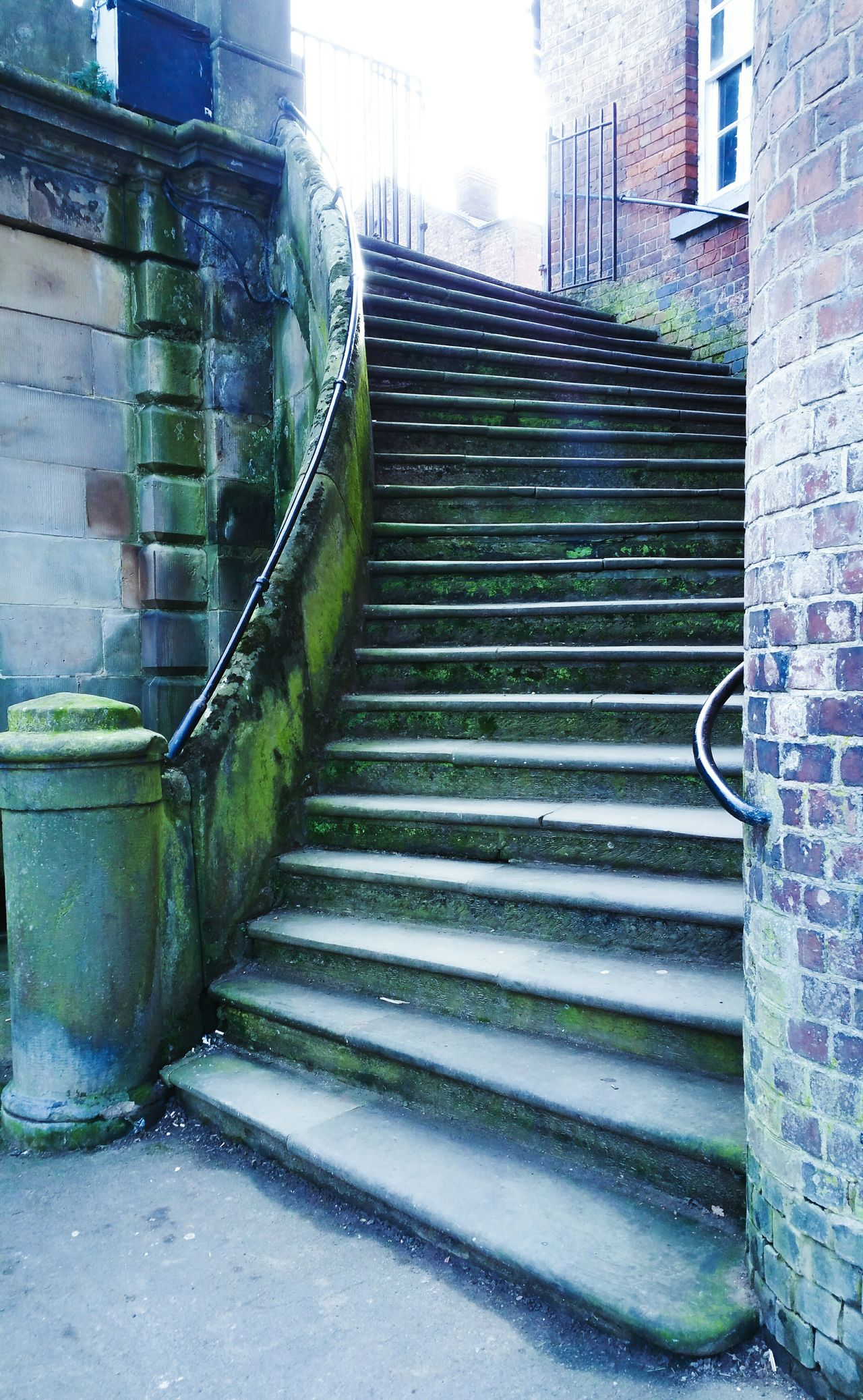 A Moss-covered Stairway Built Structure Architecture Building Exterior The City Light Outdoors Steps No People The Way Forward City Day Shrewsbury Bridge Stone Moss Wet Humid Humid Climate Britain Old