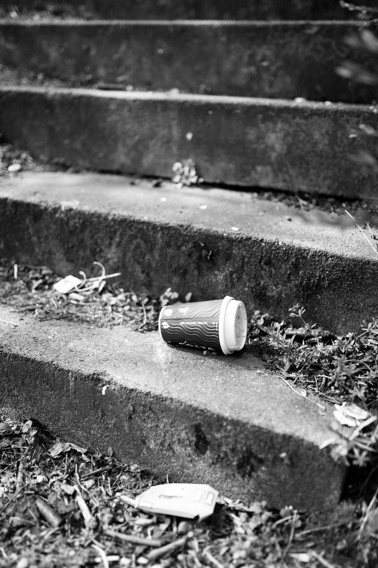 35mm Black And White Black And White Photography Blackandwhite Canon Canonphotography City Close-up Coffee Cup Day Dirt Discarded Grime Monochrome No People Outdoors Rubbish Sigma Stairs Steps Still Life StillLifePhotography Urban Urban Landscape Waste