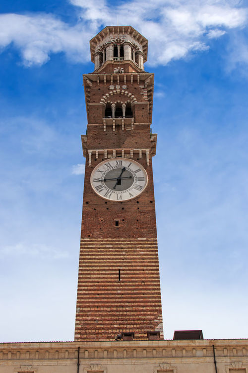 Lamberti Tower - Verona - Italy Architecture Arena Bell Tower Bell Tower - Tower Blue Brick Building Exterior Built Structure City Clock Tower Cloud - Sky Coluseum Day History Italy Low Angle View No People Outdoors Romeo And Juliet Sky Tall Tall - High Tower Verona