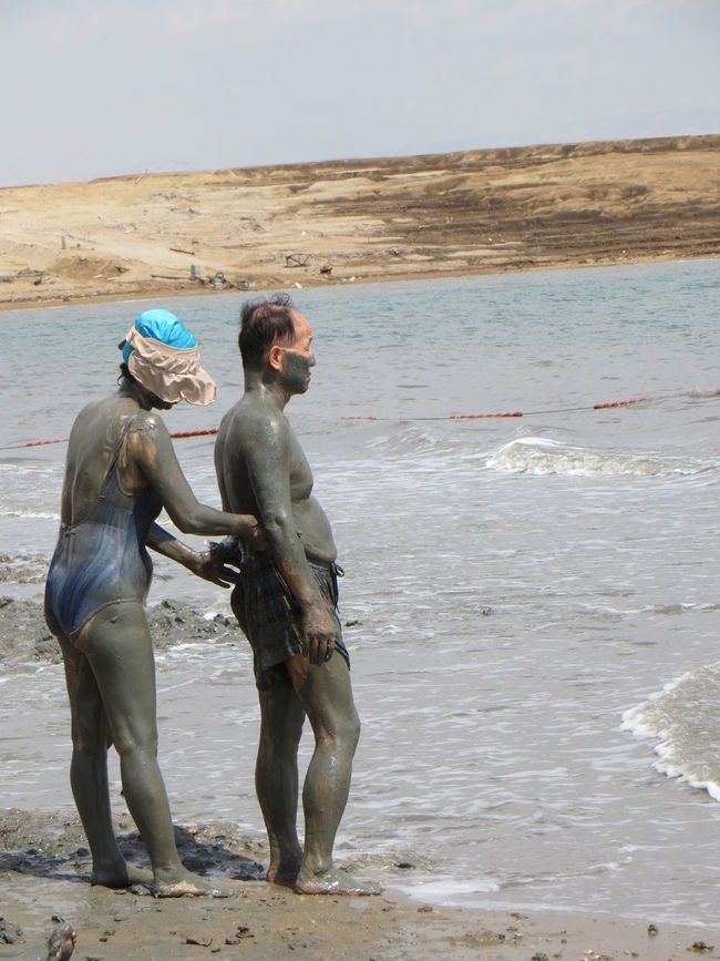 Adult Beach Couple Covered Covering Dead Sea  Deadsea Israel Japanese  Mud Mudding Muddy Real People Salt Lake Sea Sea And Sky Standing Togetherness Tourist Tourist Attraction  Travel Destinations Traveling Water Waterfront