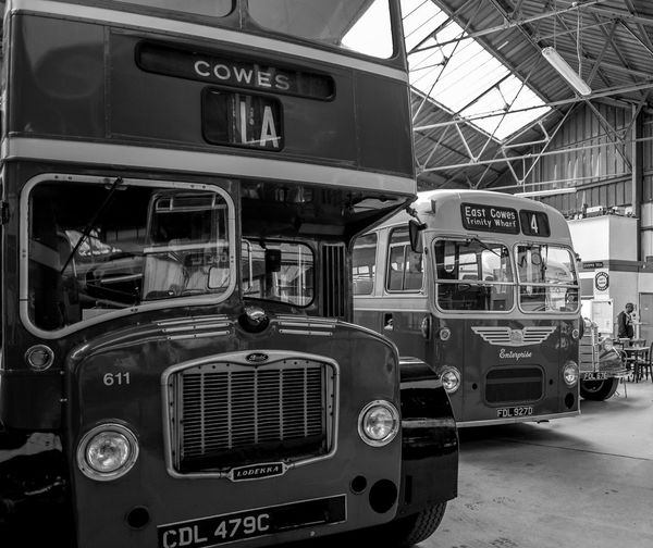 Bristol Lodekka and MW, Ryde bus garage, Ryde, Isle of Wight Bus Depot Bus Garage Bristol Bus Lodekka Ryde Monochrome Black And White Isle Of Wight