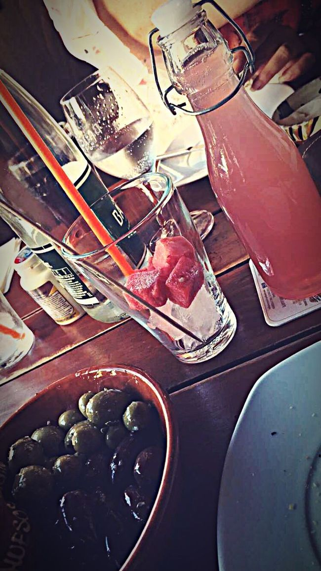 Nice Dinner Dinnertime Dinner With Friends Tapas Spainish Food Watermelon Juice Watermelon🍉 Olives Green And Black
