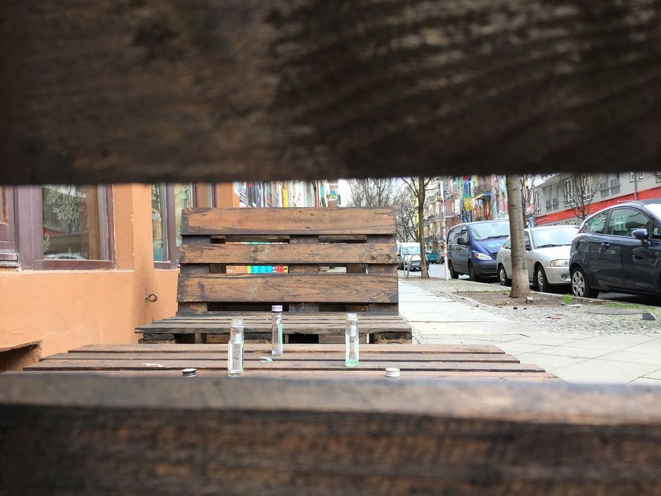 Architecture Berlin Berlin Friedrichshain Berliner Ansichten Day Empty Bottles No People Outdoors Schnaps Wooden Couch