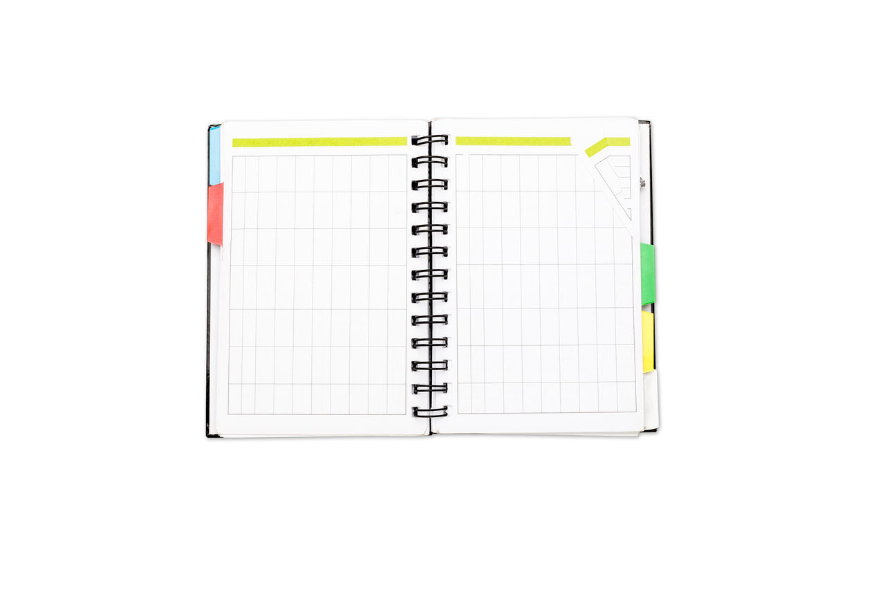 Binder Blank Book Business Calendar Copy Space Design Diary Empty Isolated Note NotePad Object Office Organizer Page Paper Ringbinder School Template Textbook White Write