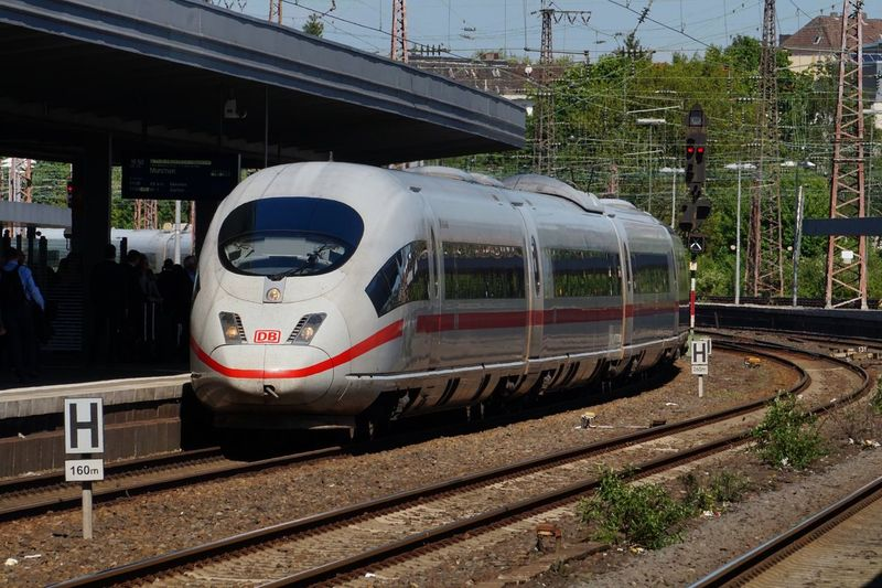 DB Ice Deutsche Bahn Train - Vehicle Railroad Track Rail Transportation Transportation Public Transportation Mode Of Transport Railroad Station Railroad Station Platform Day Outdoors Built Structure Locomotive Steam Train No People Commuter Train Sky
