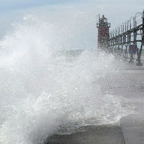 South Haven, Michigan Lighthouse Lake Michigan Great Lakes Water Waves Crashing Waves And Rocks Outdoors