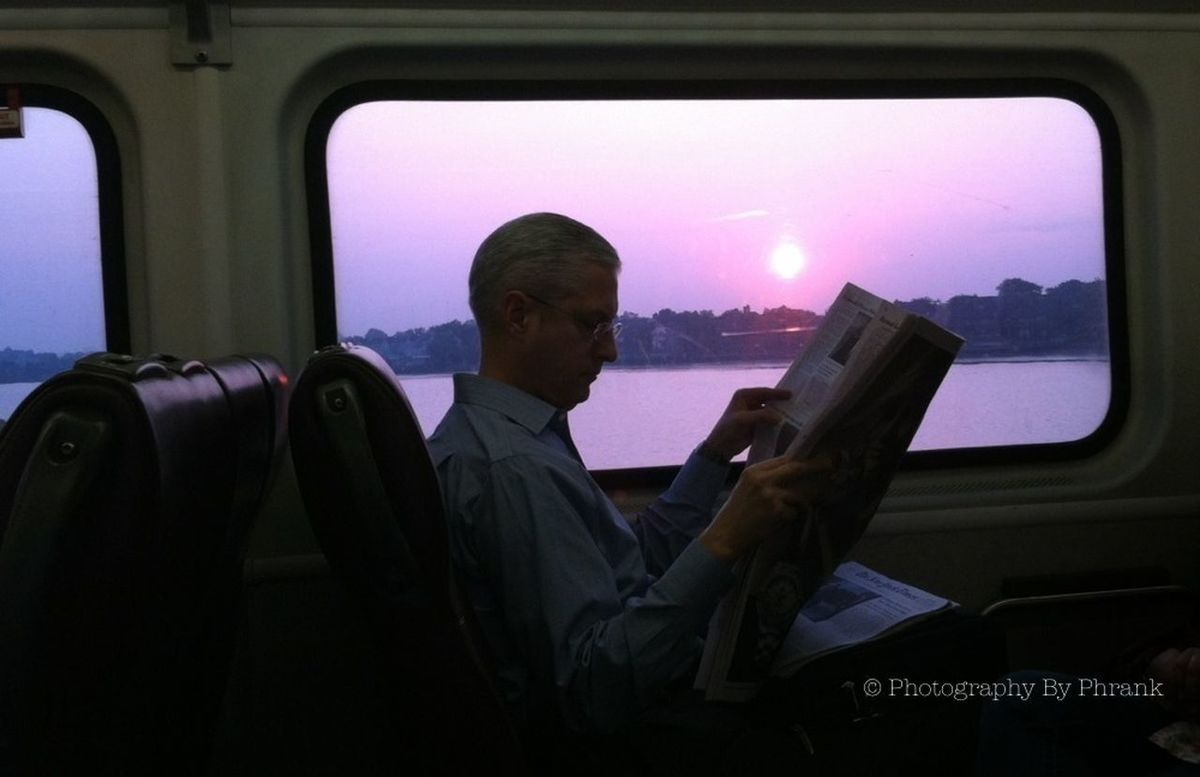 reading by the morning light Daily Commute People Watching