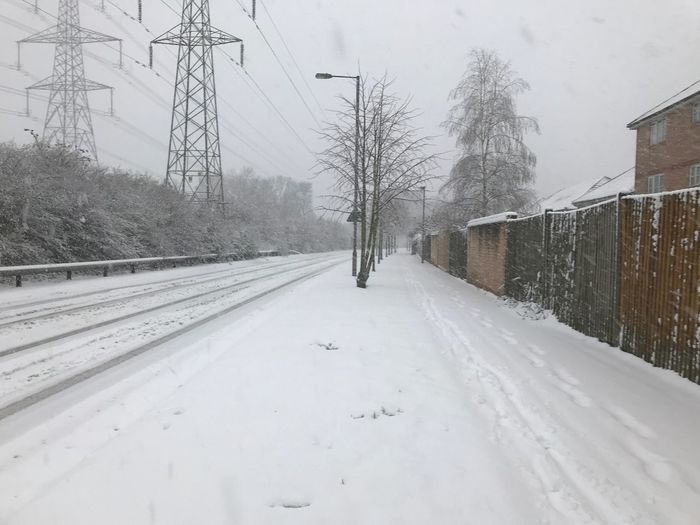 Winter Snow Cold Temperature Weather Cable Nature Transportation Road Snowing Sky Beauty In Nature Electricity Pylon Day Tree