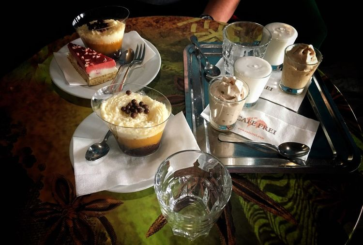 A good day with a Friend Food And Drink Colorful Colors IPhone Table Drinking Glass Dessert Indoors  Close-up Coffee Time Coffee Coffee Cake  Cake Cakes Cafe Frei Szekesfehervar Food Stories