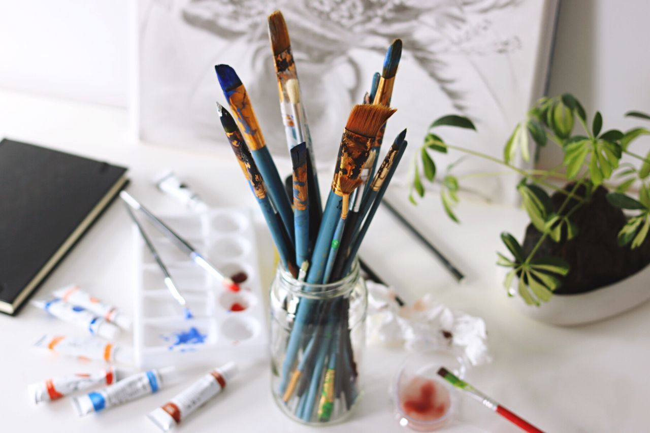 Paintbrush Art And Craft Creativity Indoors  Multi Colored Desk Organizer Studio Large Group Of Objects Palette Artist Variation Drawing - Art Product Close-up Writing Instrument Day