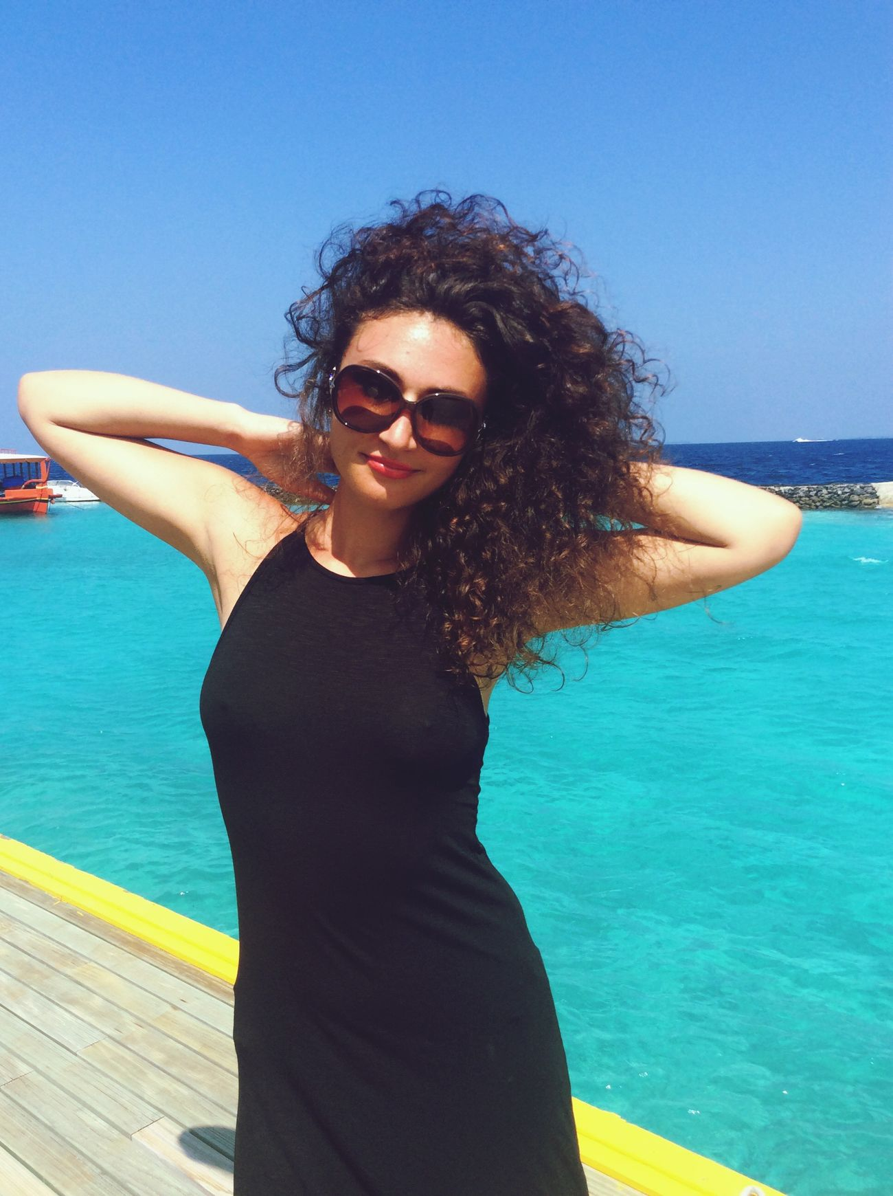 Maldives Islands Beauty In Nature Curly Hair Beautiful Woman Happiness