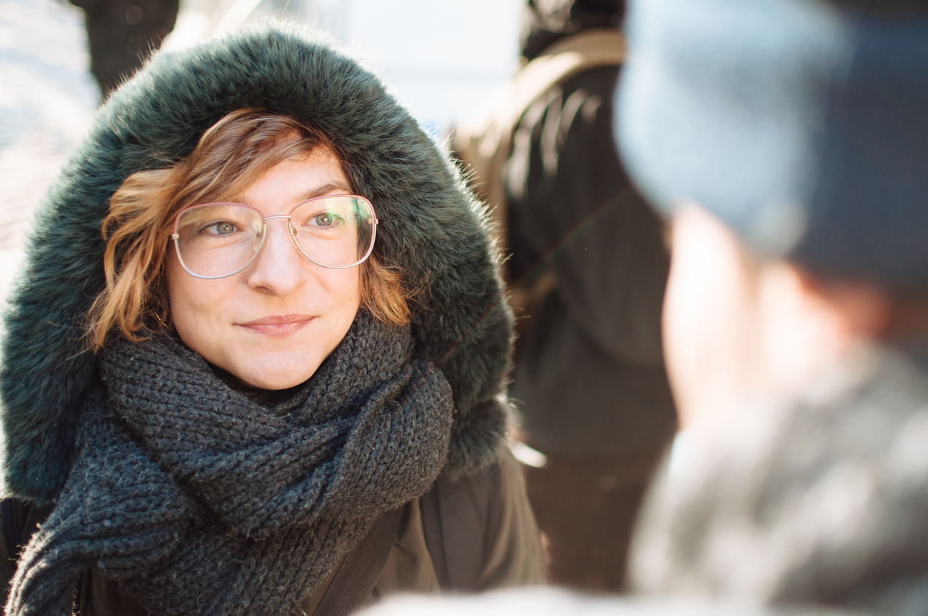 Adult Adults Only Cheerful Close-up Cold Temperature Day Eyeglasses  Happiness Headshot Hood - Clothing Looking At Camera Mature Adult Mature Women Only Women Outdoors People Portrait Scarf Senior Adult Smiling Takeportraits Two People Warm Clothing Winter Women
