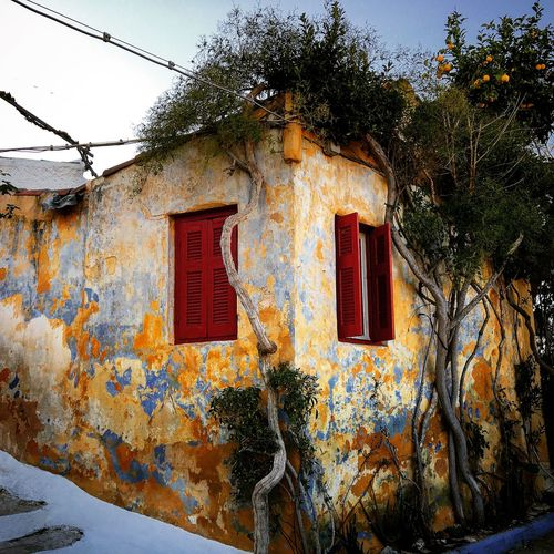 House Acropolis Greece Old House Colors Colorful Orange