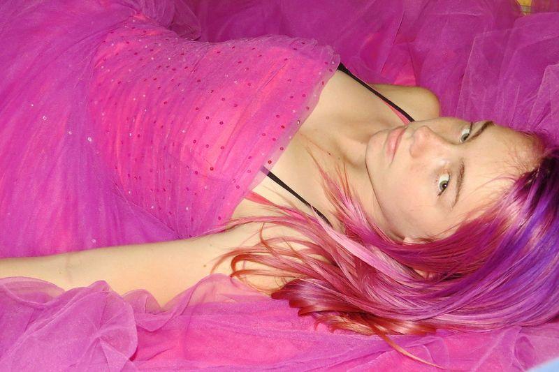 Beauty Pink Princess Teen Princess Purple Hair Striking Fashion