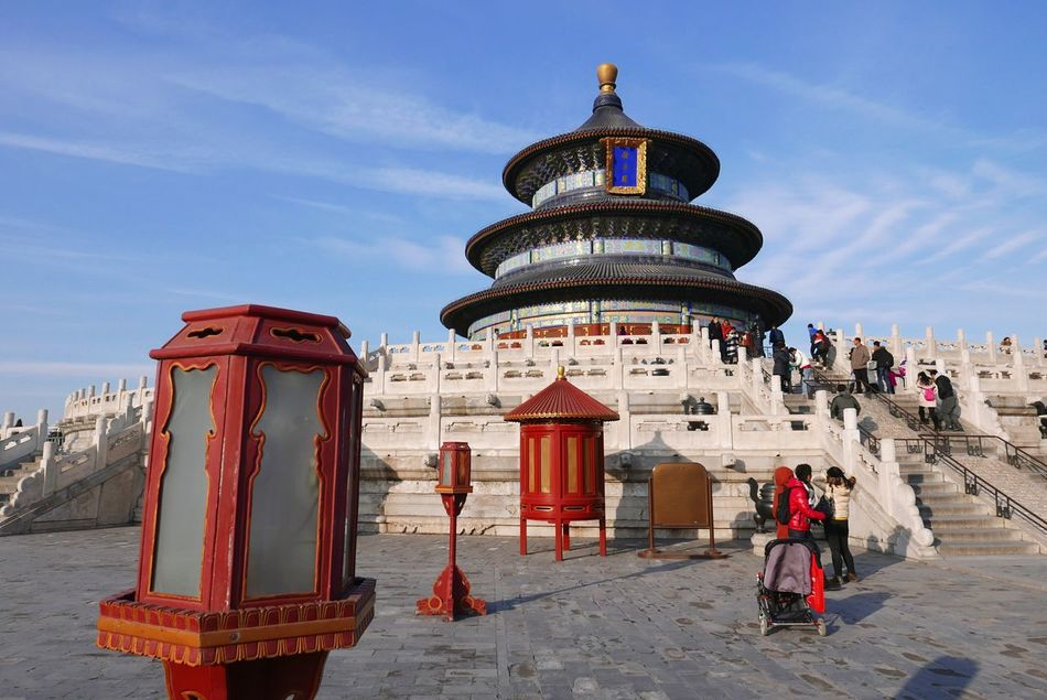 Temple of heaven was a peaceful experience, and this is my favorite shot of the temple I've made. Temple China Travel Monuments Landmark Visiting Sky Perspective Red Architecture Heaven Place Monument Trip Beijing Tourist Attraction  Tourism Destination Visit Chinese Culture Chinese Temple Showcase: January