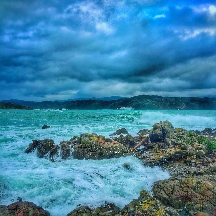 Ferry on stormy seas.... Interislander Ferry Sea Water_collection Wellington  New Zealand Newzealand Clouds Sky IPhone