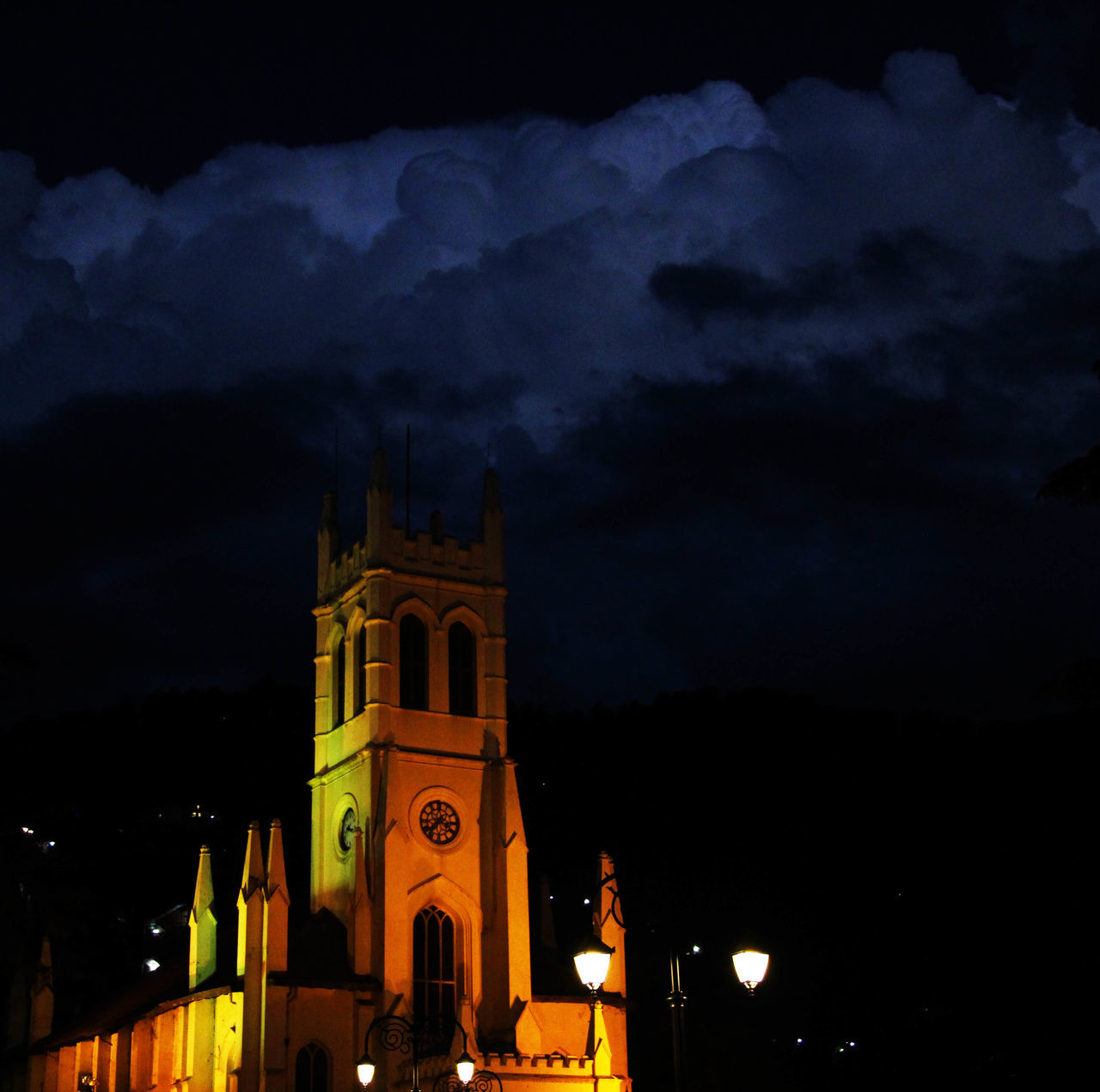 night, built structure, architecture, illuminated, sky, building exterior, religion, place of worship, spirituality, low angle view, outdoors, cloud - sky, history, no people, nature, city