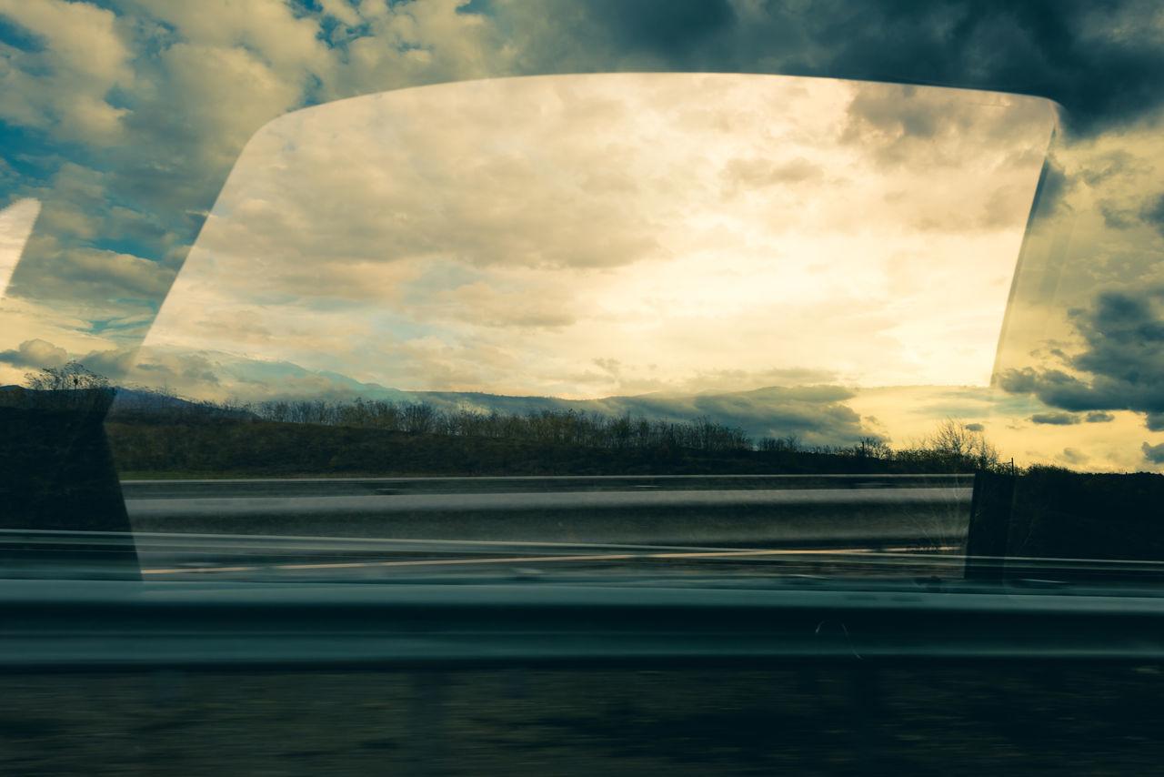 Car Clouds Dreamy In A Car MOVIE Moving Pretty Reflection Sky Through A Window