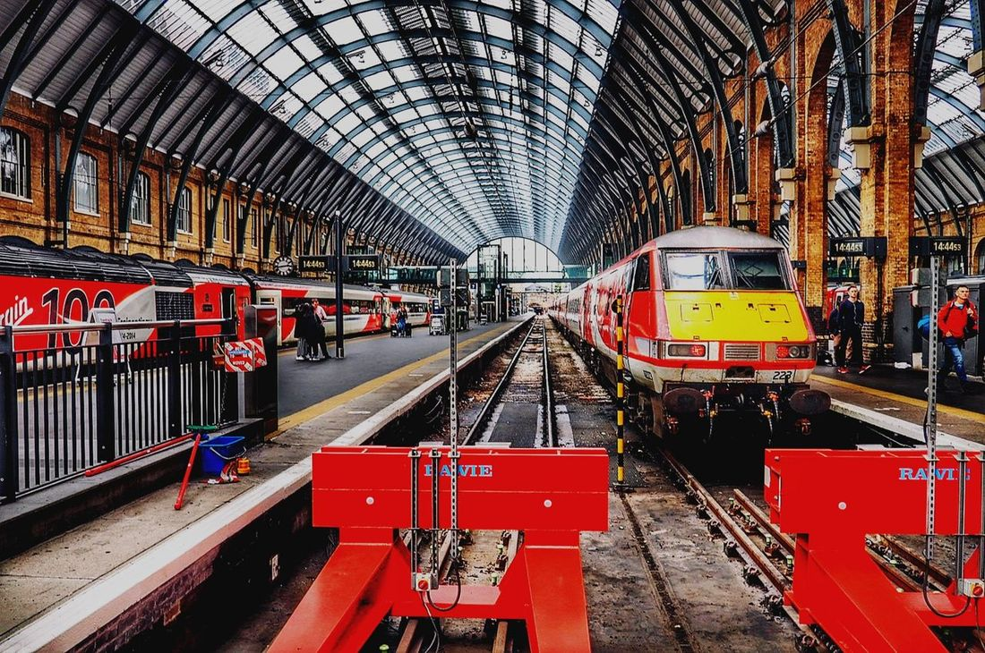 EyeEm Selects Kings Cross Station, London Kings Cross Railway Station Transportation Rail Transportation Railroad Track Public Transportation Day Built Structure Red Indoors  Architecture No People City EyeEmNewHere Connected By Travel Postcode Postcards