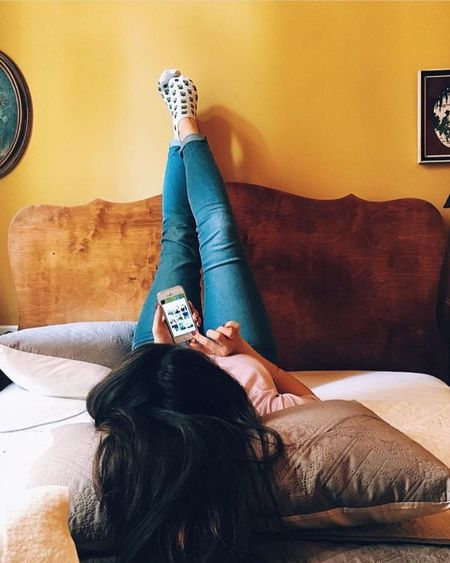 VSCO & CHILL VSCO Vscocam Vscodaily Chill Pineapple Hipster Socks Indoors  Technology Wireless Technology One Person Portable Information Device Home Interior Leisure Activity Bed Domestic Life Young Adult Bedroom Smart Phone Lifestyles Cushion Mobile Phone Sitting Communication Paint The Town Yellow
