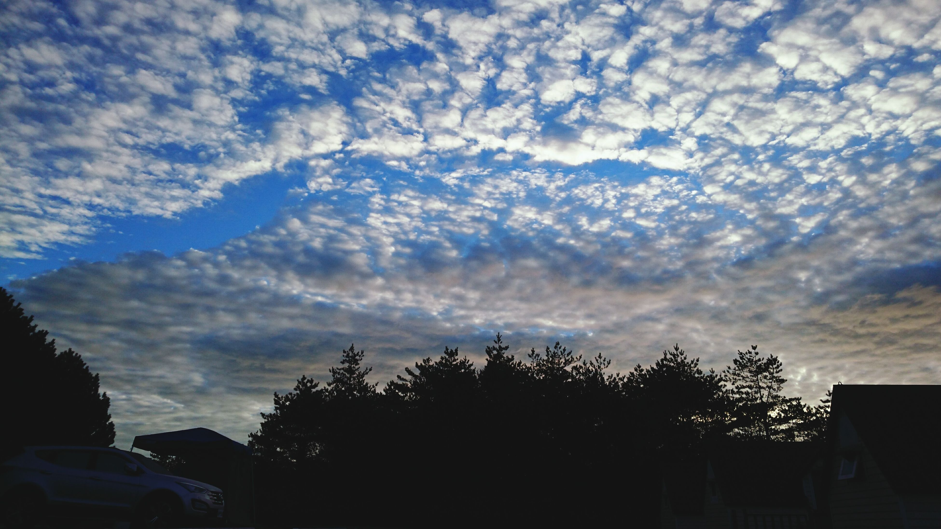 sky, tree, cloud - sky, silhouette, cloudy, low angle view, cloud, nature, house, sunset, beauty in nature, building exterior, scenics, built structure, tranquility, weather, tranquil scene, architecture, outdoors, dusk