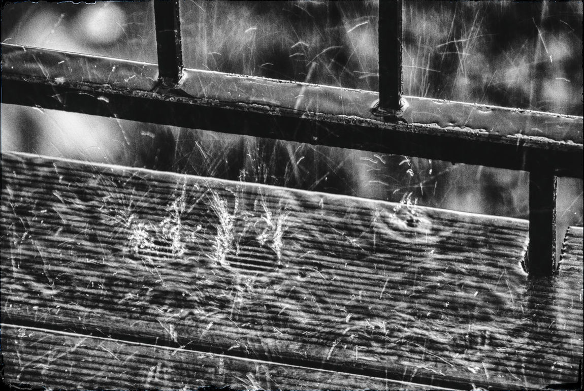 F**KING Day .. Abstract Photography Black & White Black And White Blackandwhite Close-up Closed Day Deterioration Focus On Foreground Full Frame Metal Monochrome No People Nostalgic  Rainy Days Rainy Drops Sadness Searching Searching Inspiration Water Water Drops Water Reflections Wood - Material Wood And Metal Wooden