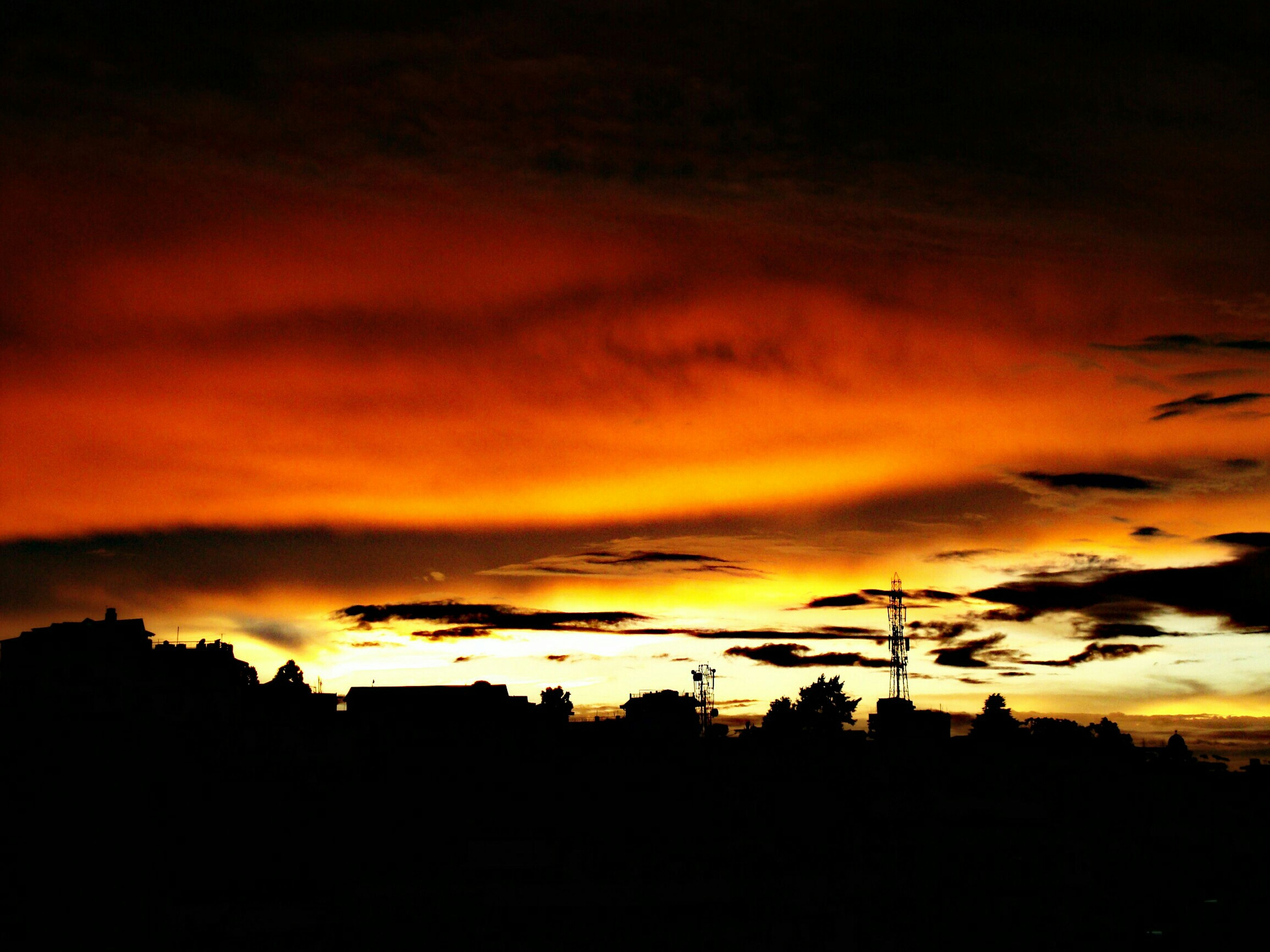 sunset, silhouette, sky, beauty in nature, scenics, orange color, tranquil scene, tranquility, cloud - sky, dramatic sky, nature, idyllic, dark, cloud, moody sky, tree, majestic, landscape, cloudy, outdoors