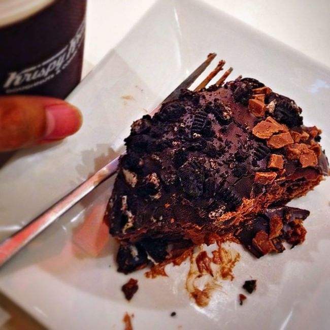 Krispykremeph Chocolatecreations taste of heaven!! Mud pie and coffee!!
