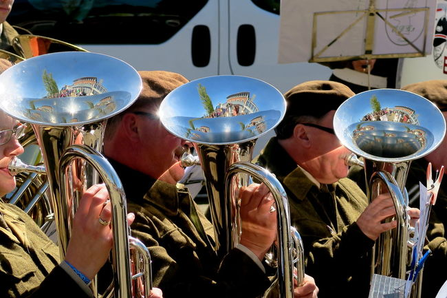 Liberation day Wageningen: let the sun shine, and the music in, 3 Abundance Brass Band Close-up Cultures Day Illuminated Instrument Large Group Of Objects Leisure Activity Liberation Liberationday Lifestyles May 5th Military Music Festival Music Is My Life Musician Part Of Reflection_collection Reflections Sunshine! Unrecognizable Person Wageningen